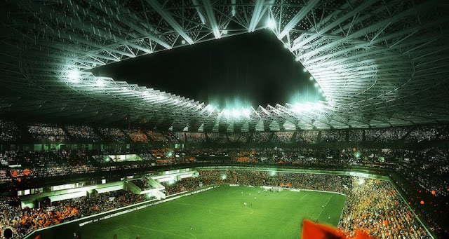 Rendering of new Grande Stade de Casablanca by SCAU, Casablanca, Morocco as viewed from inside with football field