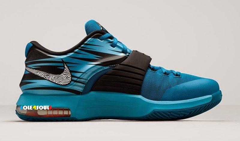 "buy popular 9a23c 687ac Price   MYR 803   USD 225 (Shipping not included) Colorways  LT BL  LCQR BLACK-CLRWTR-TTL ORANGE Release Date  15 Jan, 2015. The Nike KD 7 "" ..."