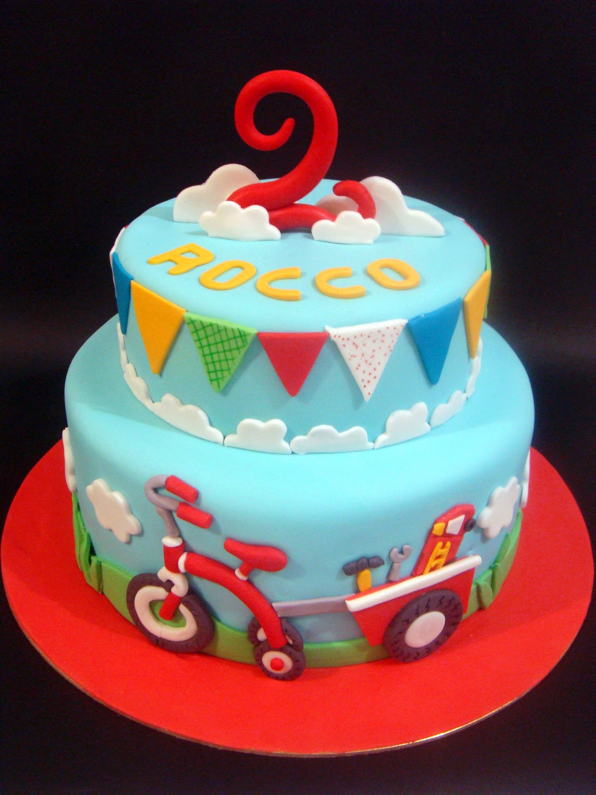 butter hearts sugar Tricycle Birthday Cake