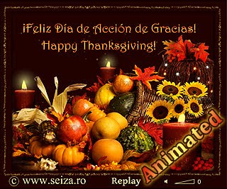 Happy Thanksgiving /Feliz Día de Acción de Gracias/ Bonne Action de grâce - tarjeta animada