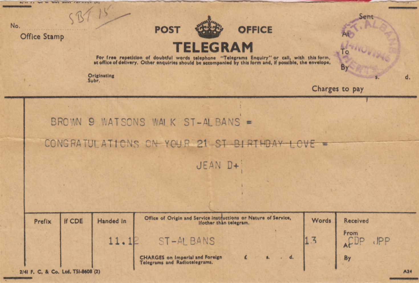 127 post office telegram 14 november 1946 i picked this up at a