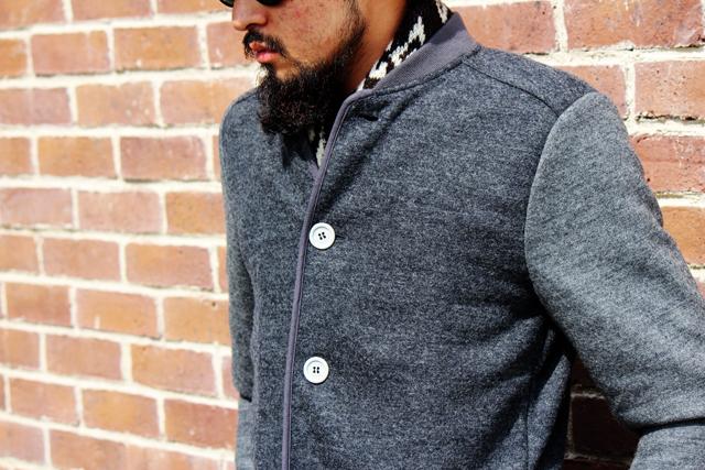 commonpeople 14fw herron yokecablecrewsweater jerseybaseballjacket outfit jacket madeinengland greenangle