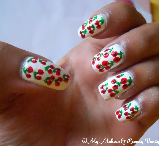 cherry nail art tutorial+cherry+nail art+cherry blossom nail art+designs+nail