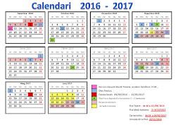 CALENDARI ESCOLAR curs 2016-2017