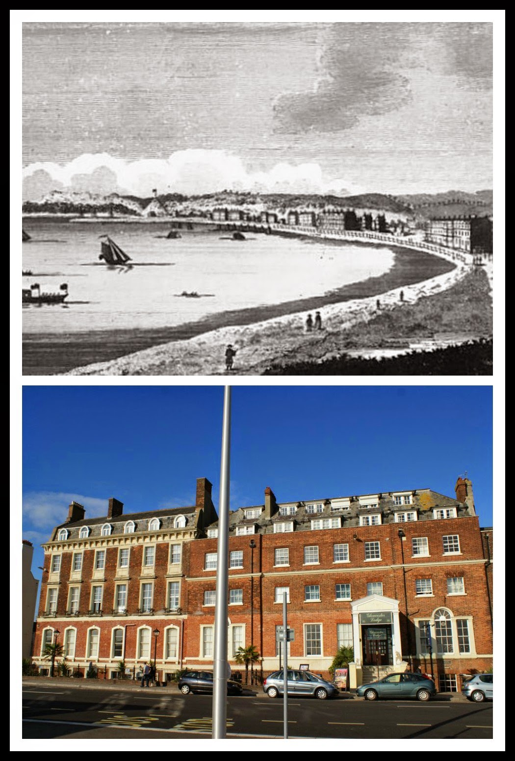 Top: Weymouth seafront from The Lady's Magazine (1789)  Bottom: Gloucester Lodge today © Andrew Knowles