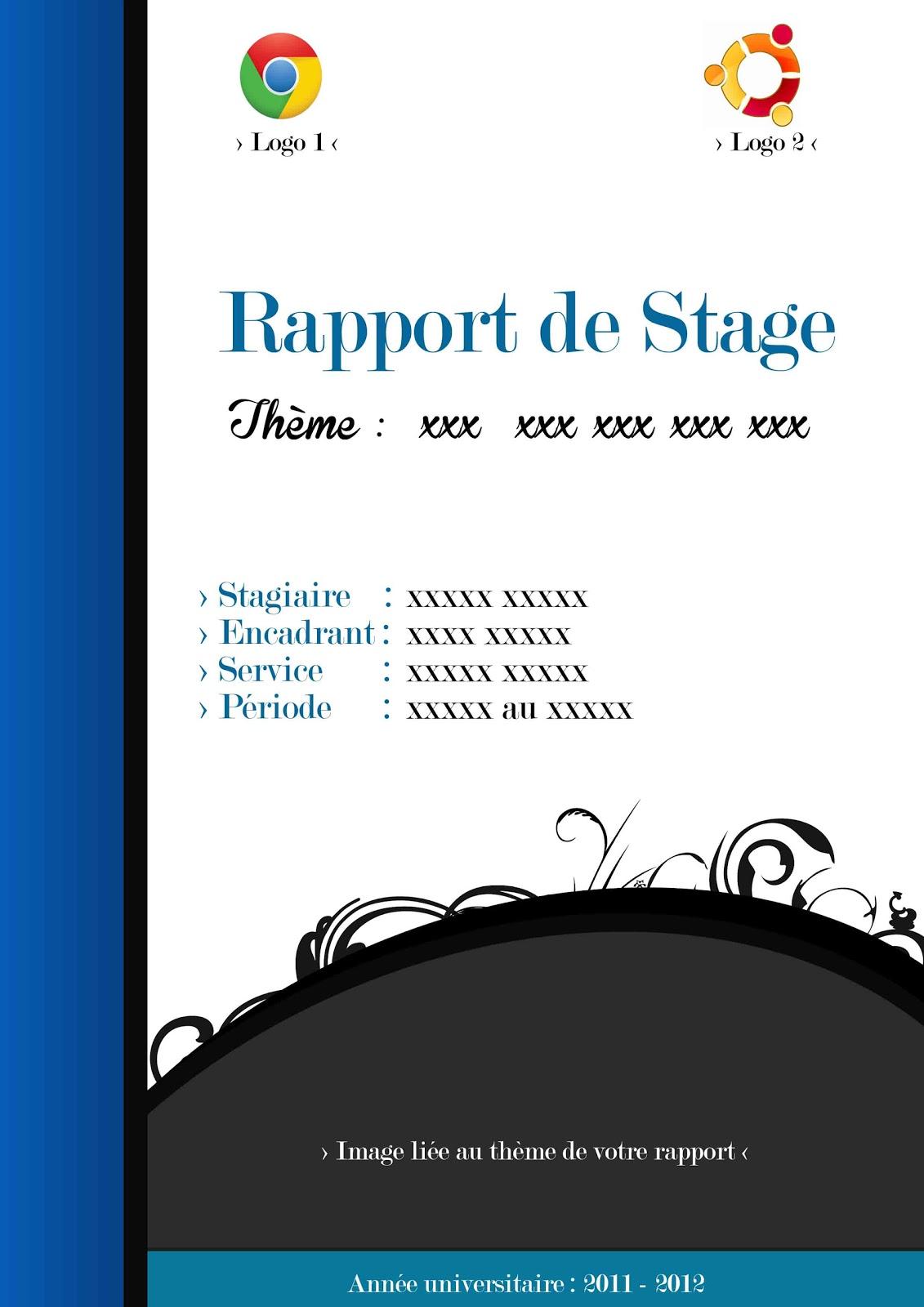 Page de garde rapport de stage , page de garde psd , page de garde