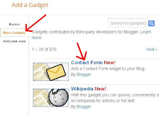 blogger more gadgets contact form