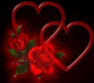 Romantic love picture: two hearts with rose
