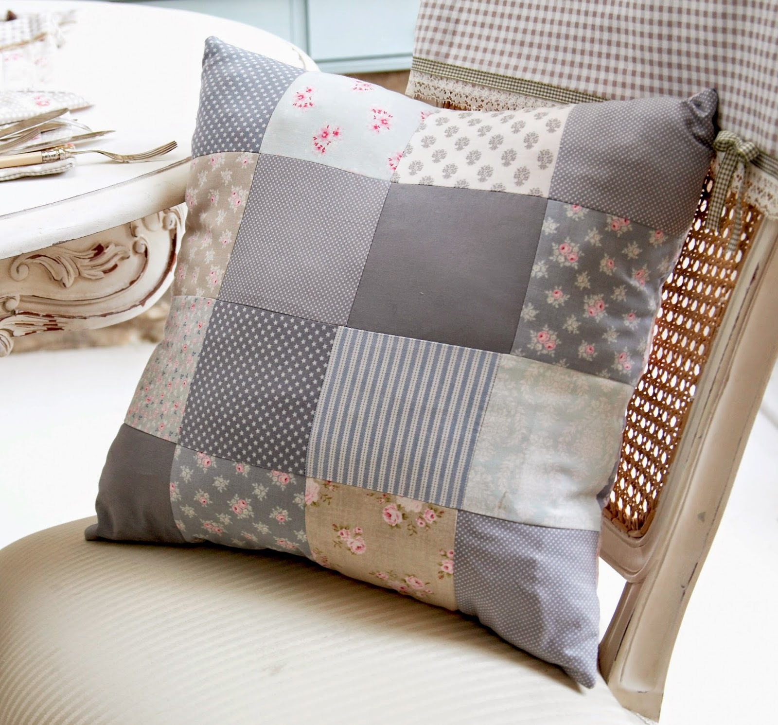 sew what by debbie shore patchwork cushion cover project. Black Bedroom Furniture Sets. Home Design Ideas