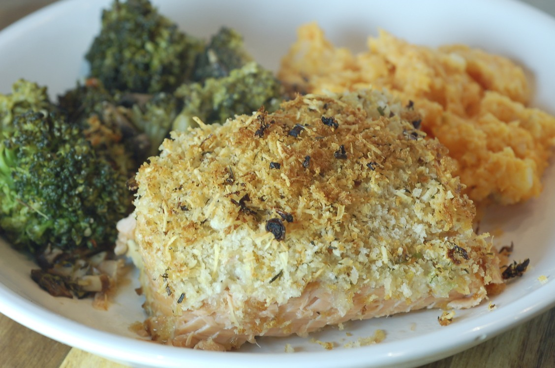 Panko parmesan crusted salmon the hungry alaskan for Parmesan crusted fish