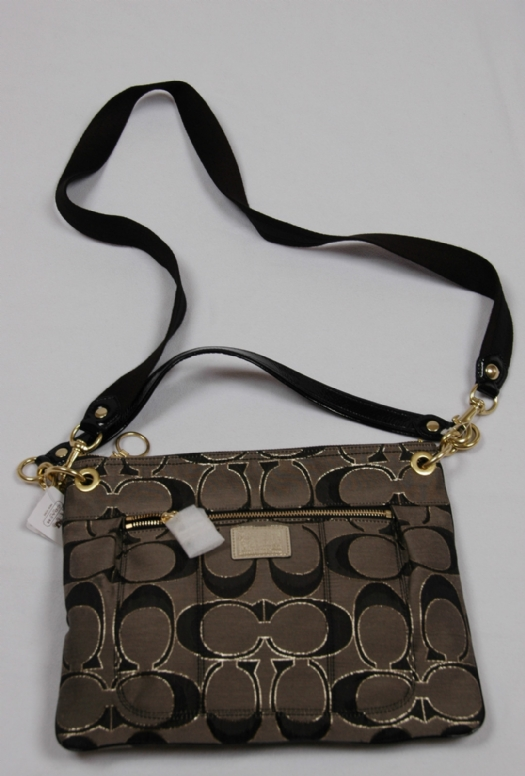 Coach Signature Poppy Hippie Crossbody Messenger Bag 18135 Black Gold 53