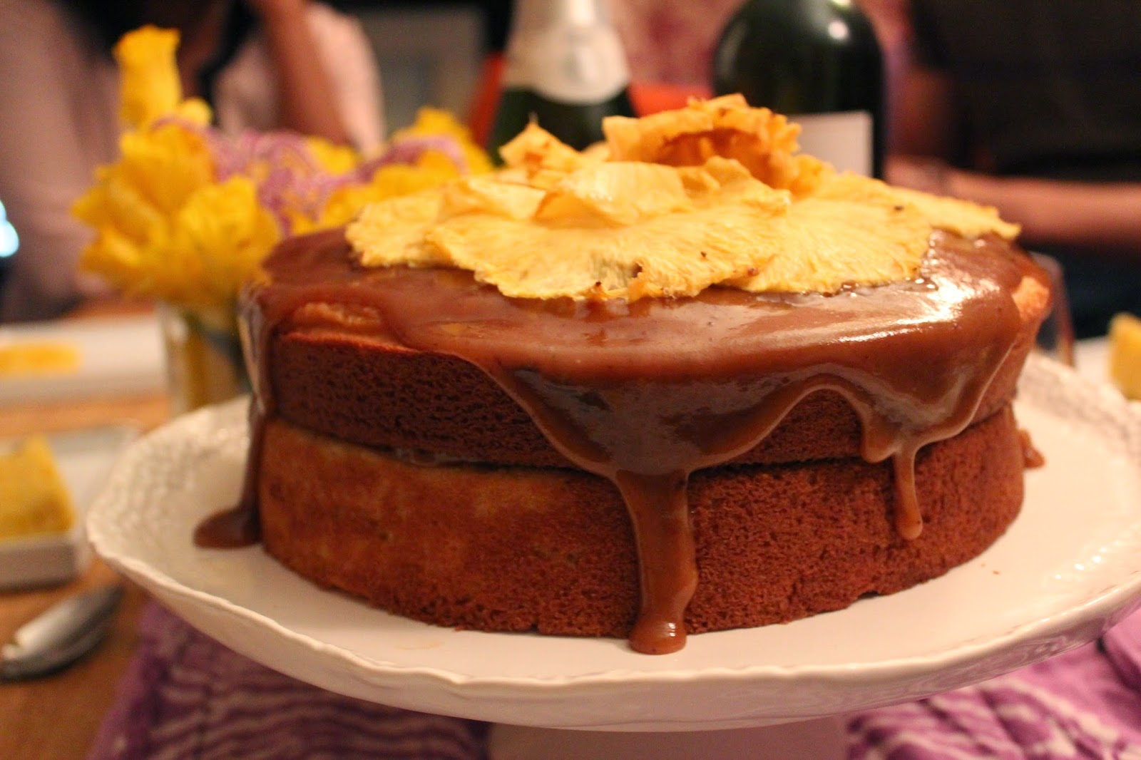 Caramel Cake with Pineapple Flowers
