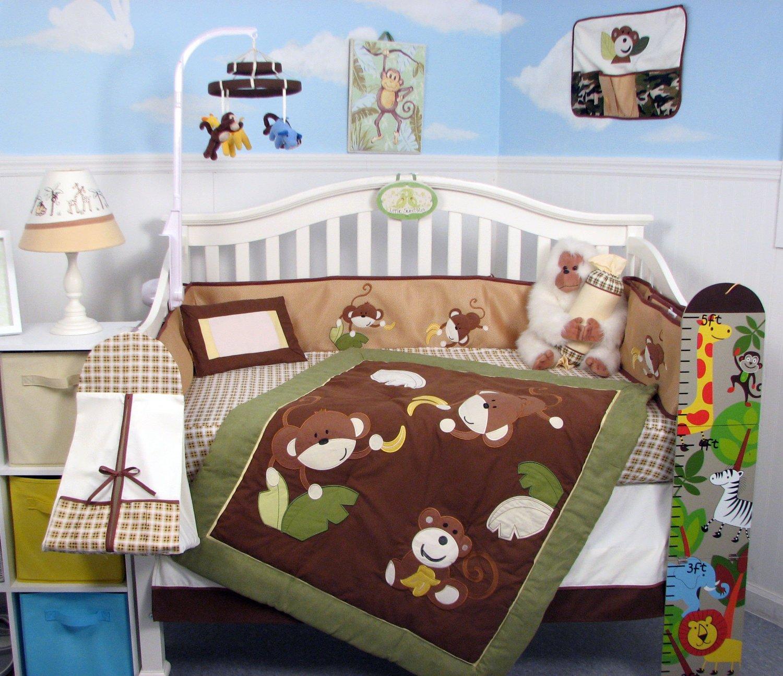 13 Piece Monkey Business Jungle Theme Baby Crib Nursery Bedding Set