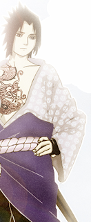 Sasuke looks like a dragon, Sasuke with Dragon tattoo, hand on hip