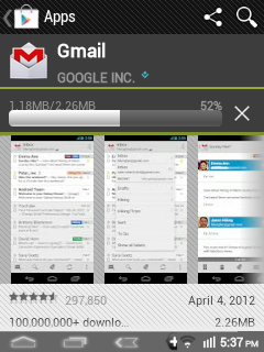 Google Play - GMail Downloading