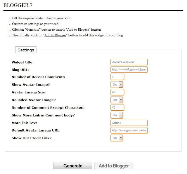 Comentarii Recente - Generator widget