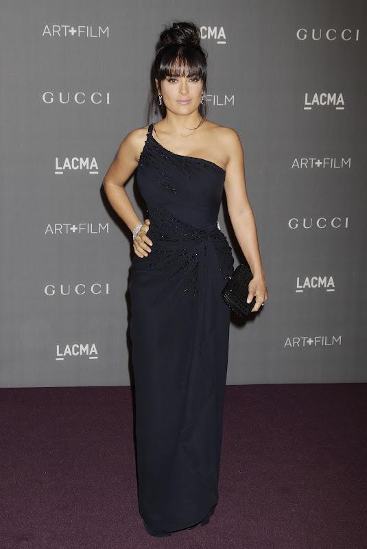 Salma Hayek in a black dress at 2012 LACMA Art+Film Gala