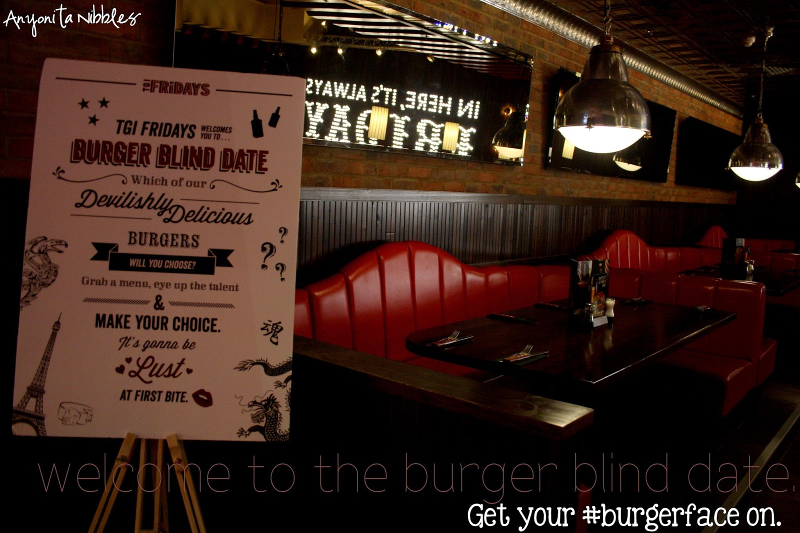 TGI Friday's Burger Blind Date. Get your #burgerface on.