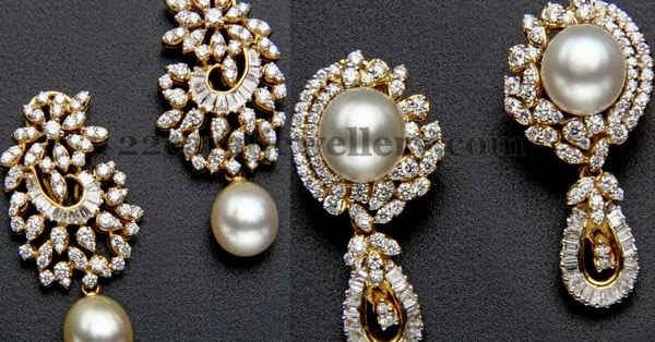 Flawless Pearls Diamond Earrings Jewellery Designs