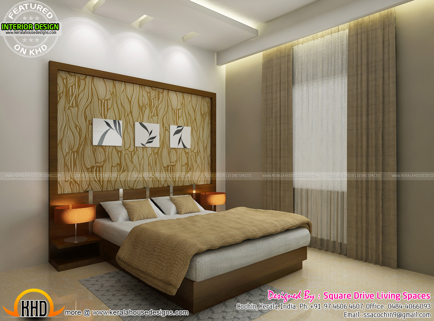 Interior designs of master bedroom living kitchen and Good house designs in india