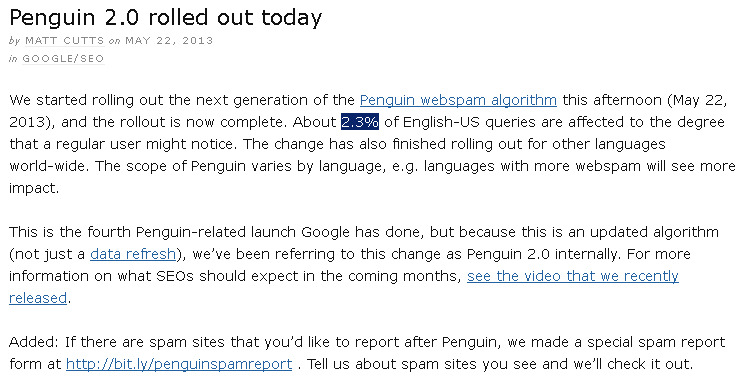 Update Google Penguin 2.0