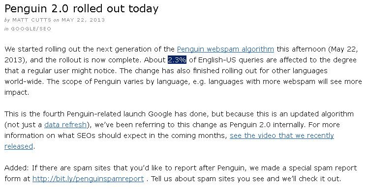 Update Google Penguin 2.0