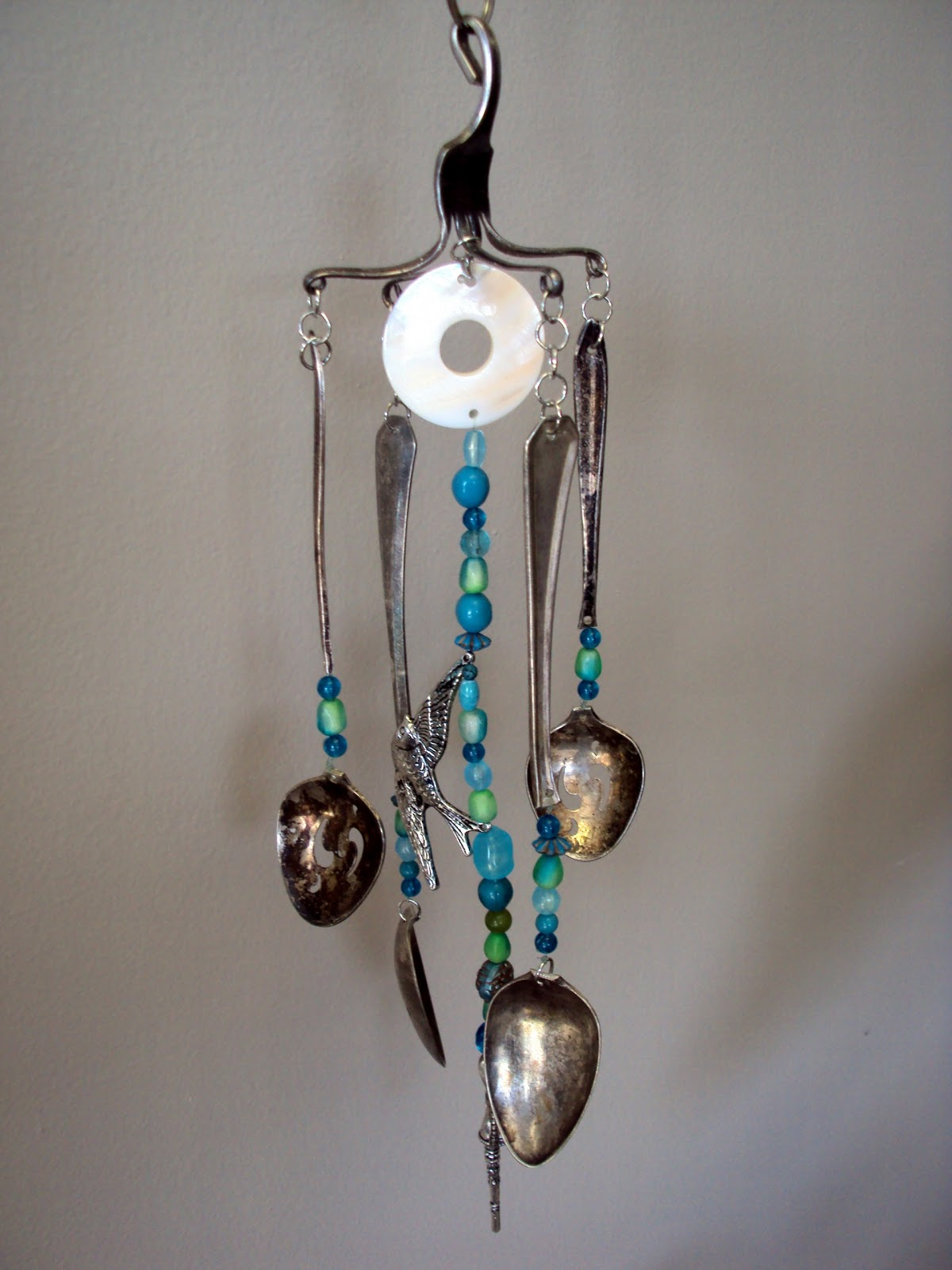 A refinished life silverware wind chime for How to make a windchime out of silverware