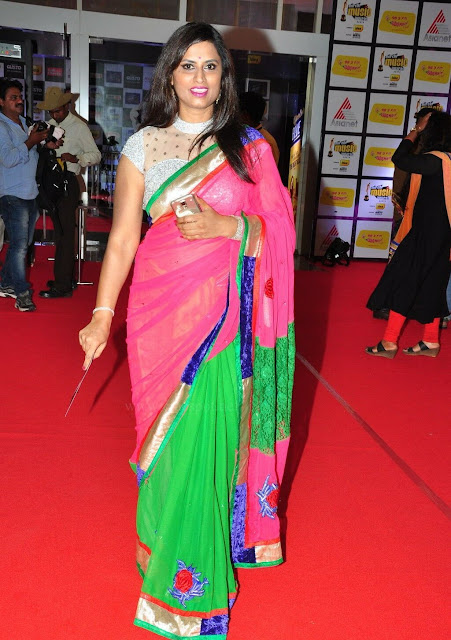 Kousalya  in Pink and Green Half Saree