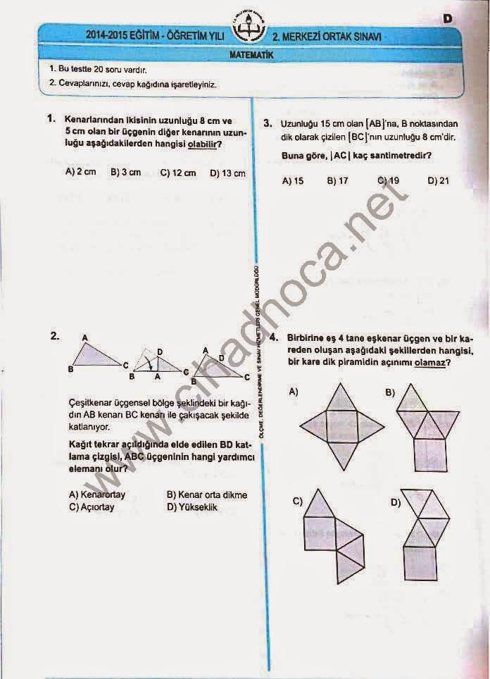 TEOG Matematik Soruları 1-2-3-4