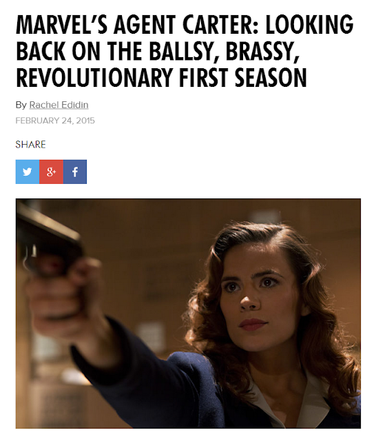 "Screen cap of the top of the article ""Marvel's Agent Carter: Looking Back on the Ballsy, Brassy, Revolutionary First Season"" by Rachel Edidin from 24 February 2015 on Playboy.com."