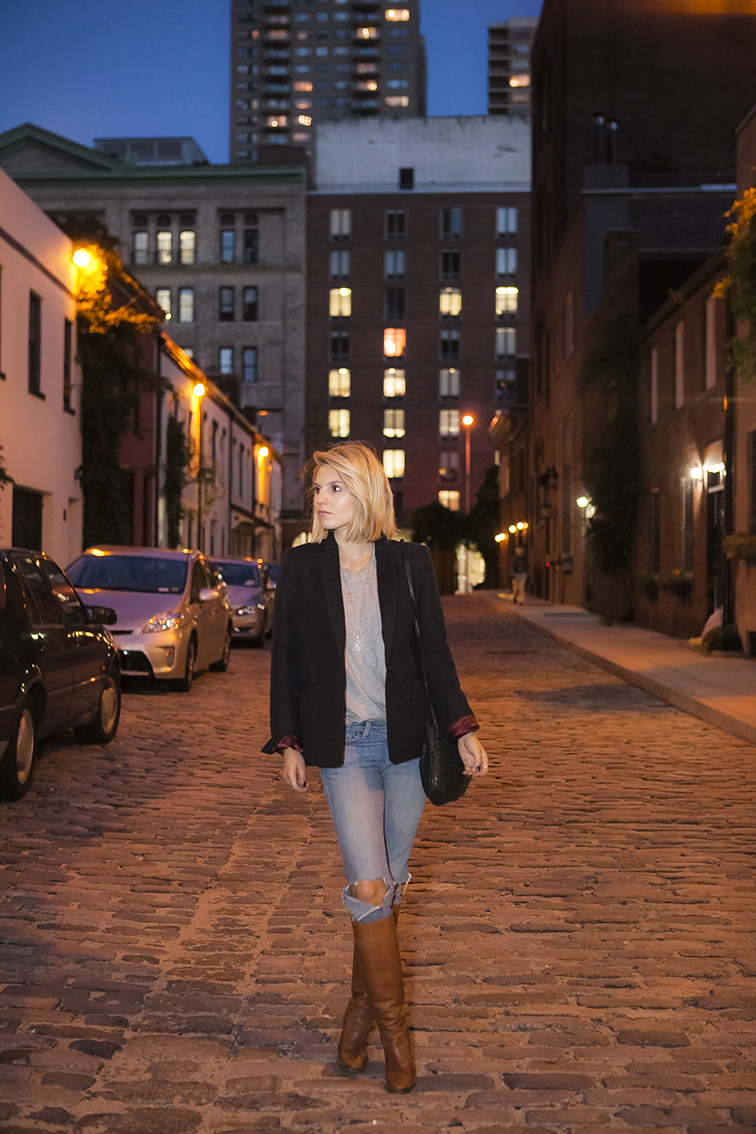 fashion over reason, Washington Mews, New York City, JCrew blazer, Michael Kors boots, Everlane tee, J Brand jeans