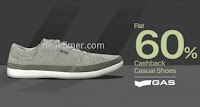 Flat 60% Cashback on GAS Footwear @ Paytm