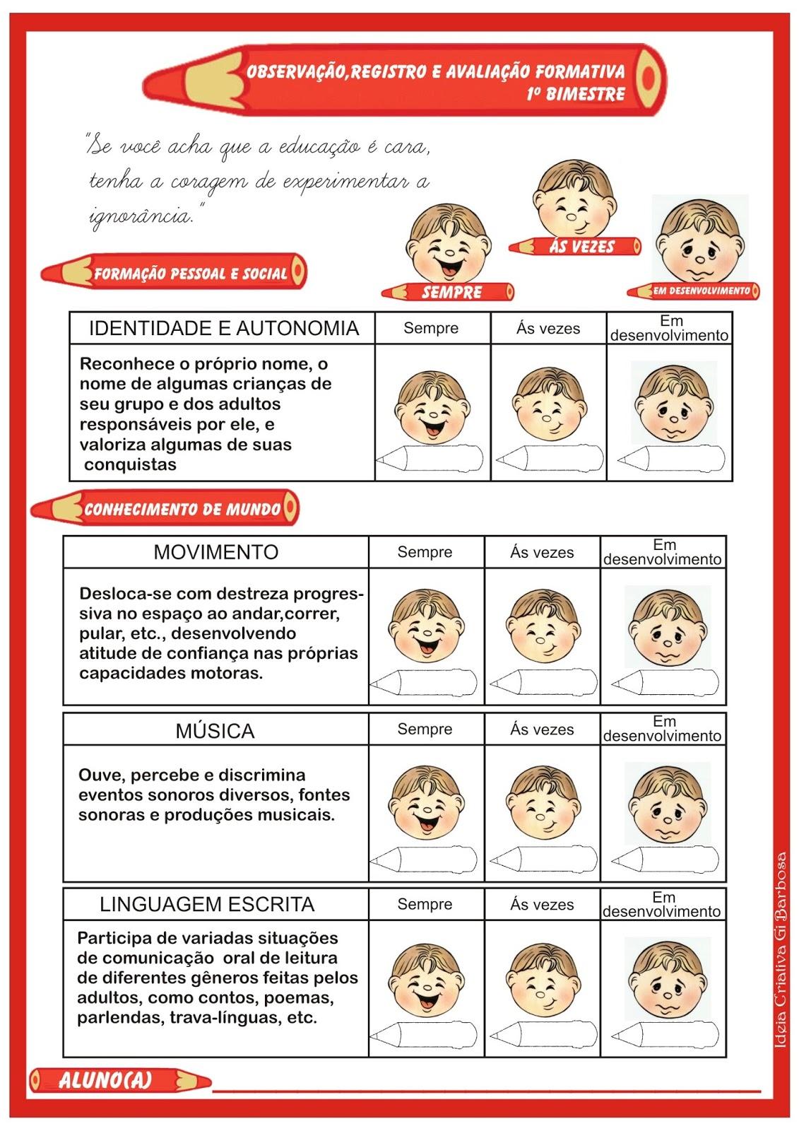 Conhecido Ficha de Avaliação do Aluno - Registro de Observações | Ideia  KK63