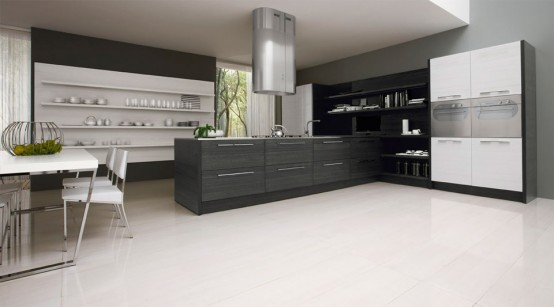 Contemporary Black and White Kitchen Furniture Design