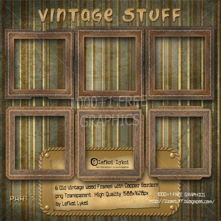 1000+1 FREE GRAPHICS : 6 Old Vintage Wood Frame with Copper Borders ...