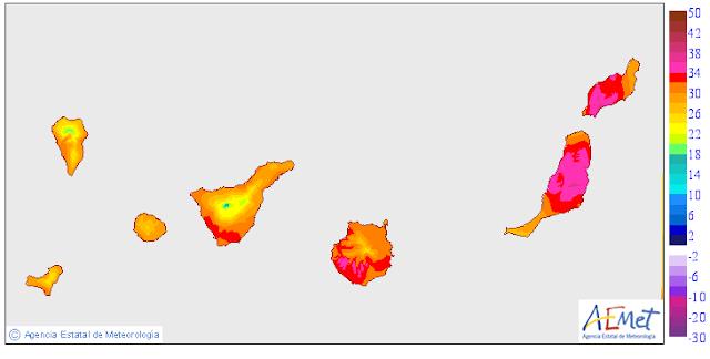 Aumento de calor y calimaGran  Canaria, Fuerteventura, Lanzarote domingo 4 octubre