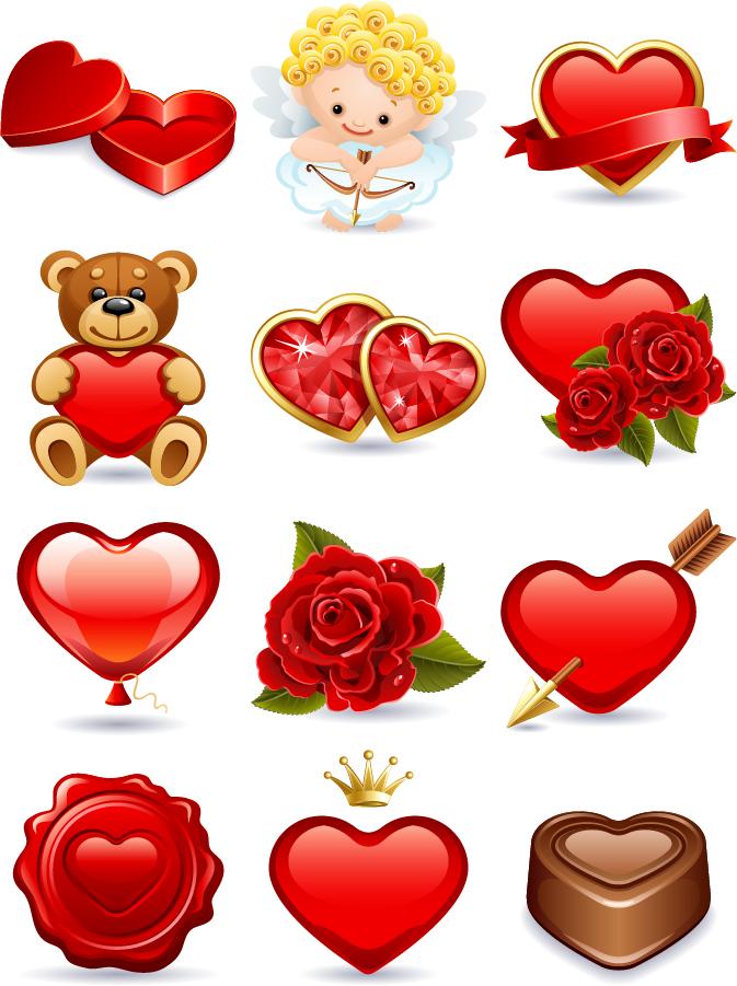 バレンタインデーのハート型アイコン romantic Valentine's heart-shaped icons イラスト素材