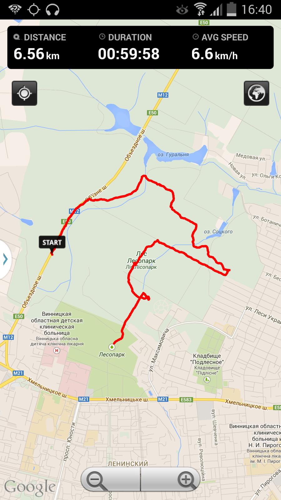 Дистанция на карте тренировки по Охоте на Лис (ardf, радиопеленгация) в Лесопарке, в Виннице.