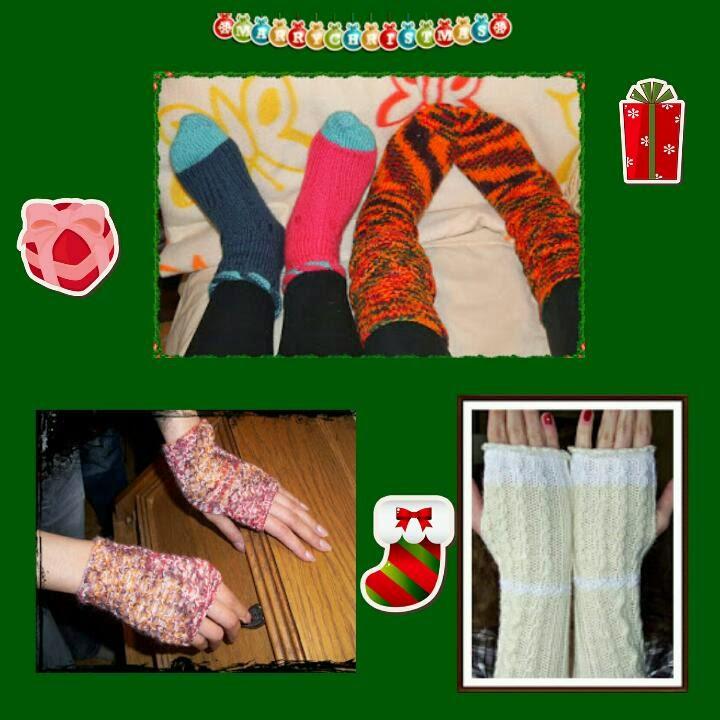 selbstgestrickte Socken zu Weihnachten, handmade socks for christmas, Handstulpen, Stulpen