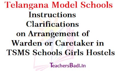 Warden,Caretaker,TS Model Schools Girls Hostels