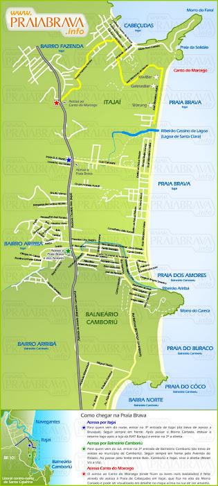 Mapa da praia Brava - Itajaí