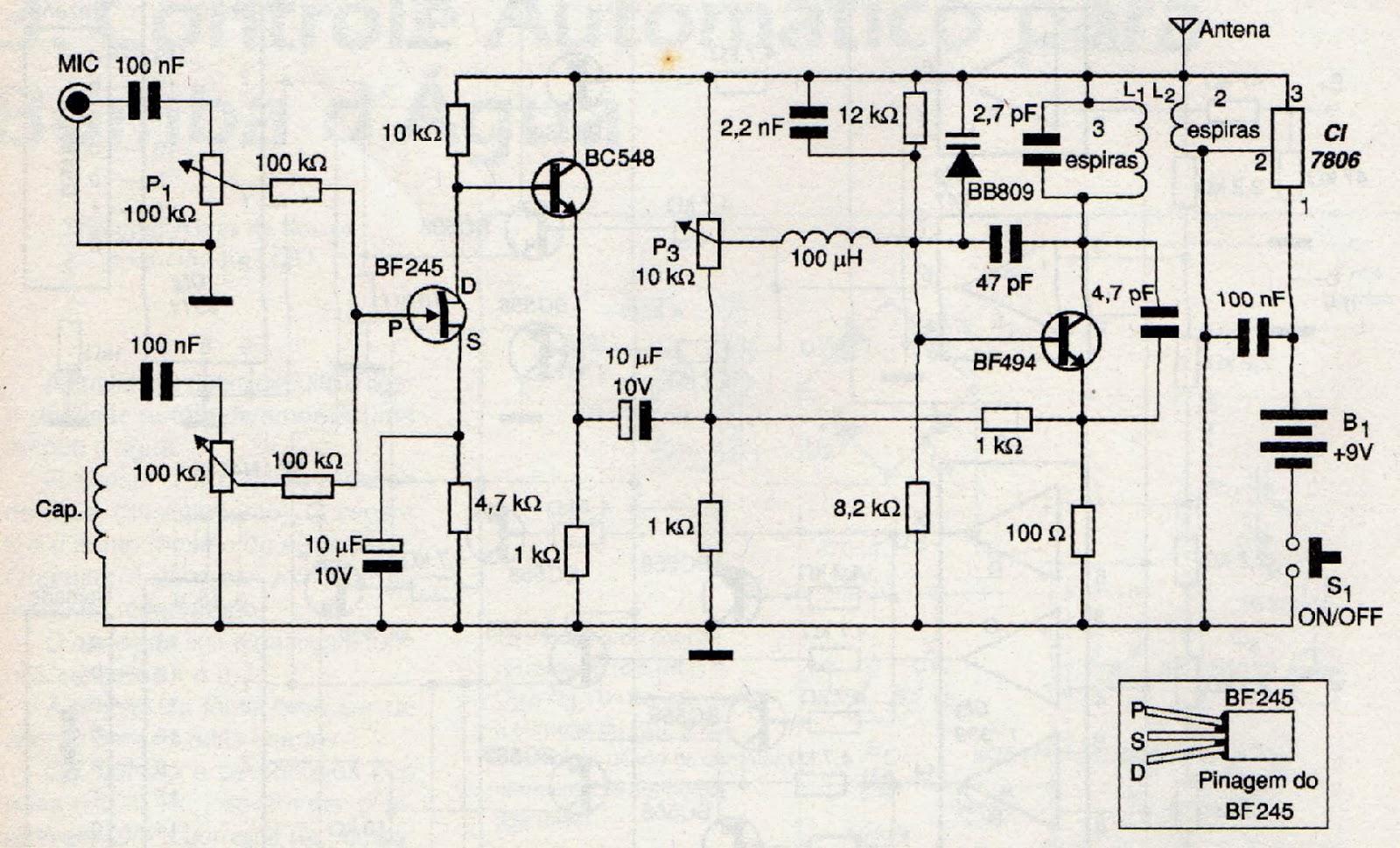 Circuito Emisor Receptor : Mas circuitos electronicos circuito guitarra inalámbrica