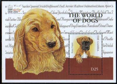 2000年ガンビア共和国 ボクサーとコッカー・スパニエルの子犬の切手シート