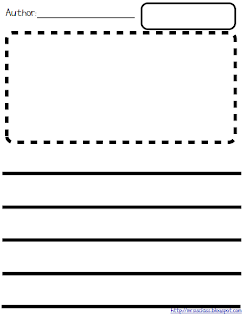 printable writing paper with lines and picture box Student writing paper with handwriting lines and small picture box.