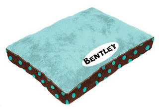 Blue PrideBites bed with brown polka-dot sides