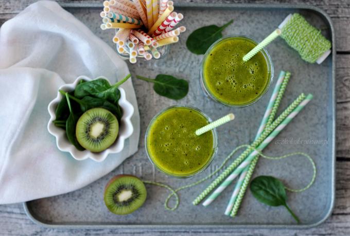 koktajl, ze szpinakiem, mango, zielony