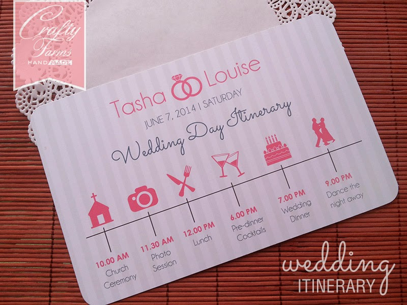 Wedding Day Itinerary Card with Icons, Church Ceremony