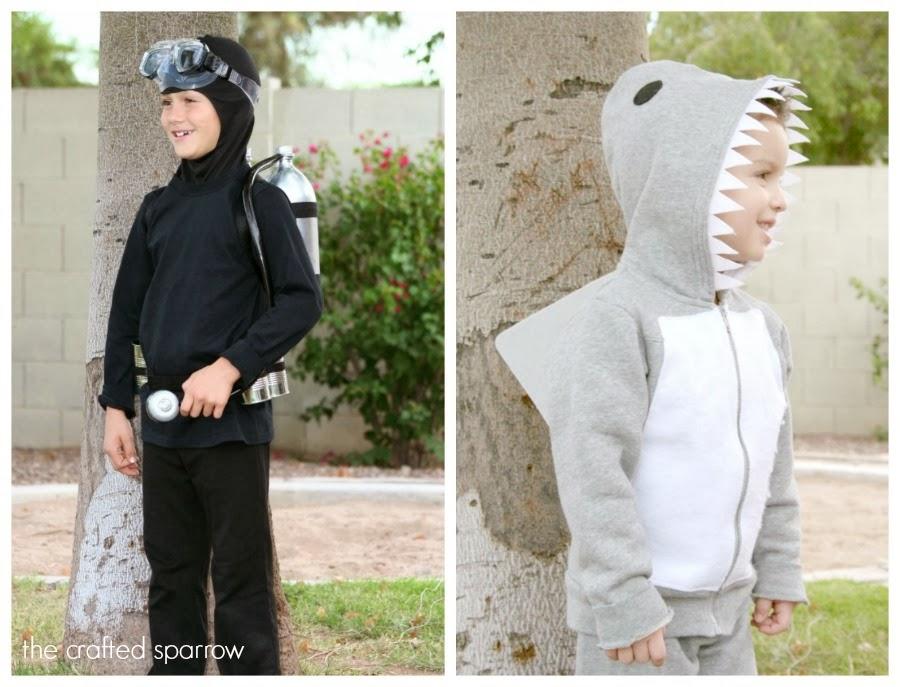 sc 1 st  The Crafted Sparrow & DIY Scuba Diver u0026 Shark Costumes
