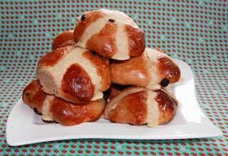 A pile of hot cross buns