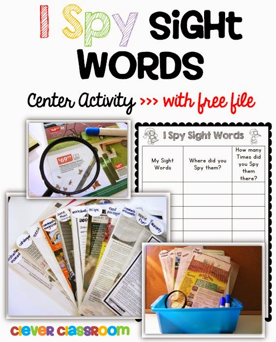 I Spy Words Center Activity from Clever Classroom